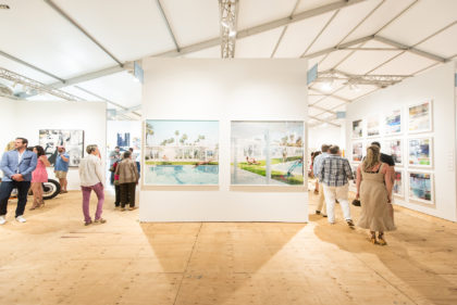 Market Art & Design exhibition pavilion, visitors looking at artworks hanging on white walls